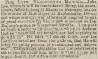 'Lee innocent' - Portsmouth Evening News - Monday 05 October 1885